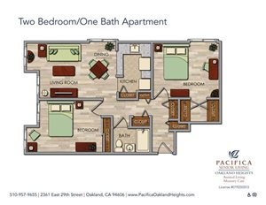 Two Bedroom/One Bath Floor Plan at Pacifica Senior Living Oakland Heights, Oakland