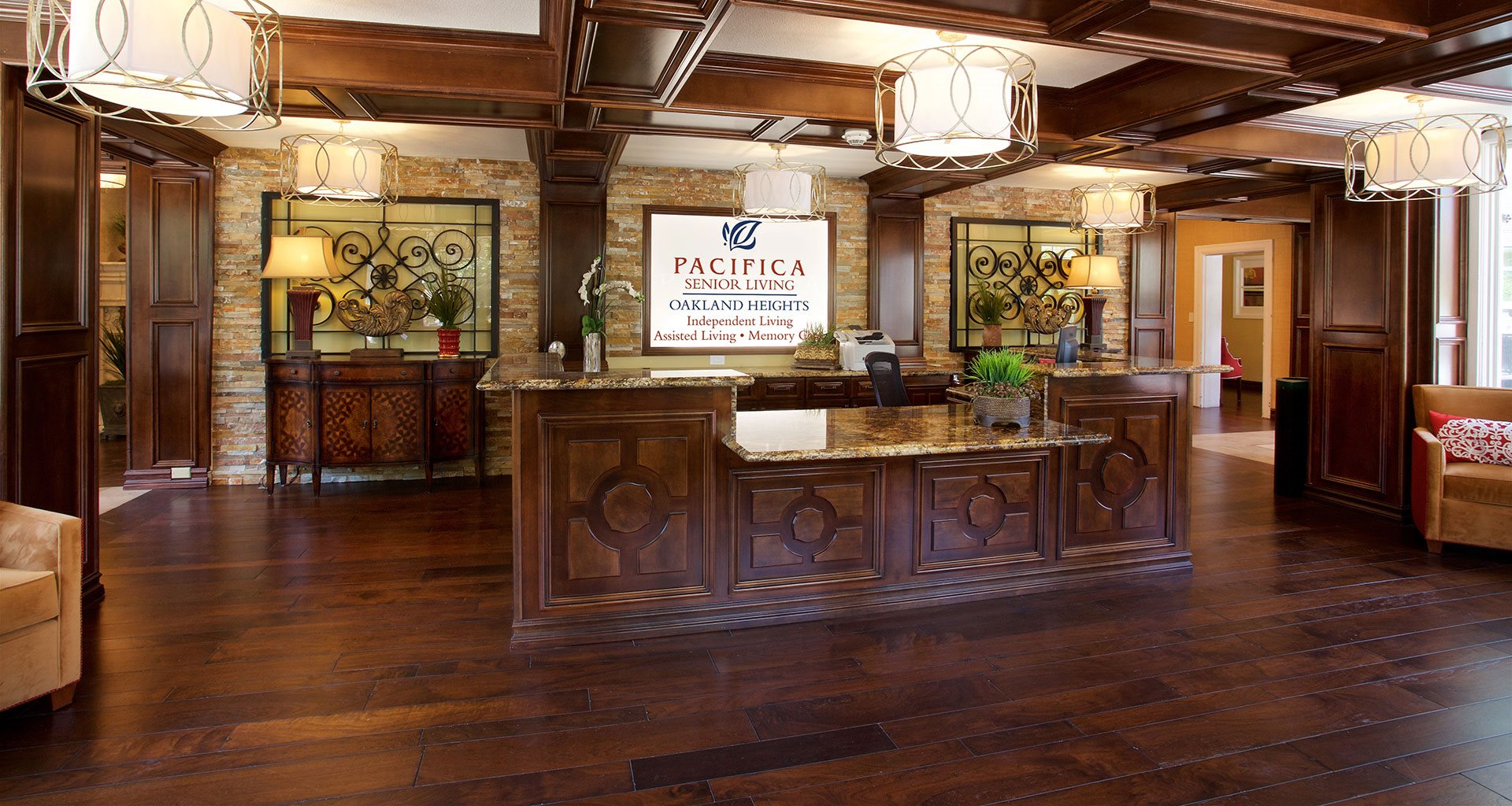 Welcoming Reception Area at Pacifica Senior Living Oakland Heights, California, 94606