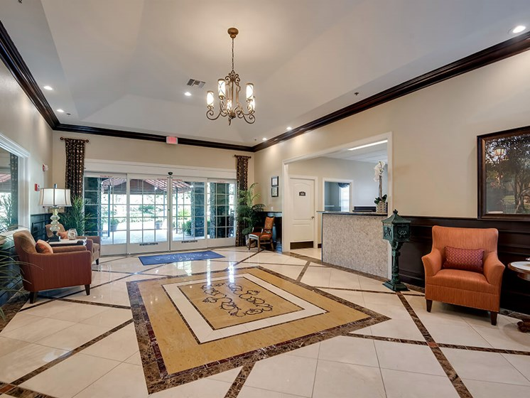 Warm community hallway at Pacifica Senior Living Ocala