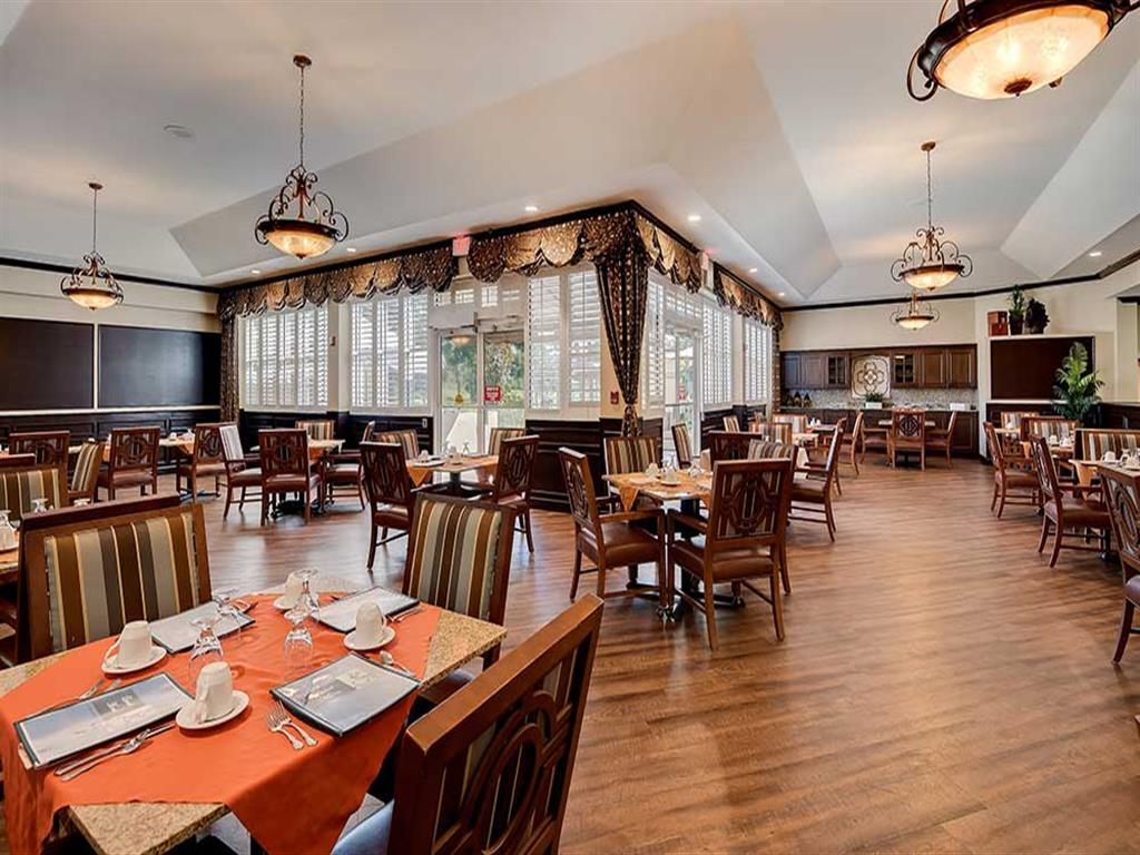 Enjoy three nutritious meals per day while dining area at Pacifica Senior Living Ocala