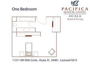 One Bedroom Assisted Living Floor Plan at Pacifica Senior Living Ocala, Florida