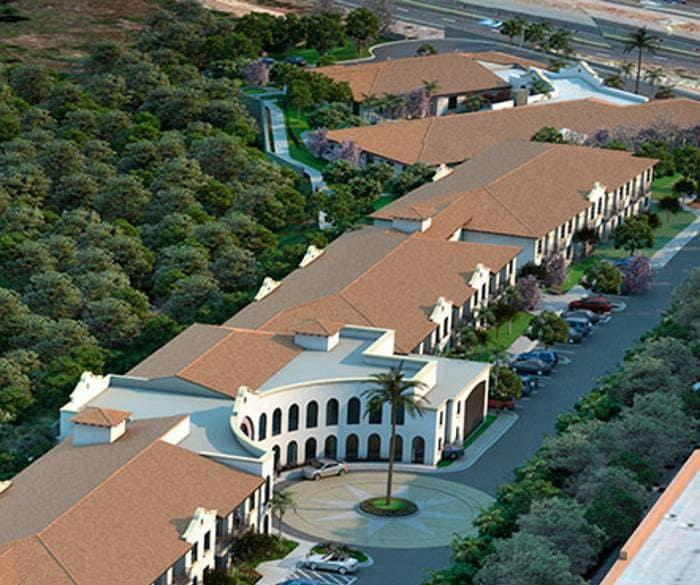 Arial View of Clubhouse at Pacifica Senior Living Oceanside, California, 92057