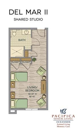 Del Mar II Shared Studio Floor Plan at Pacifica Senior Living Oceanside, Oceanside, California