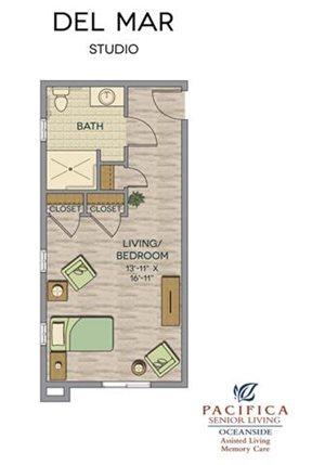 Del Mar Studio Floor Plan at Pacifica Senior Living Oceanside, Oceanside