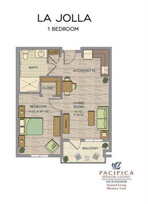 La Jolla One Bedroom Floor Plan at Pacifica Senior Living Oceanside, California