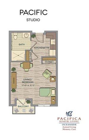 Pacific Studio Floor Plan at Pacifica Senior Living Oceanside, California, 92057