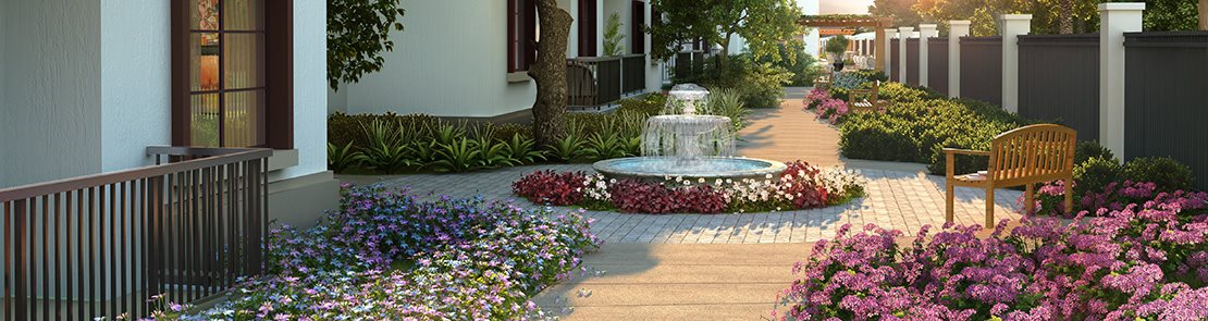 Beautiful walkways at Pacifica Senior Living Oceanside, Oceanside, California