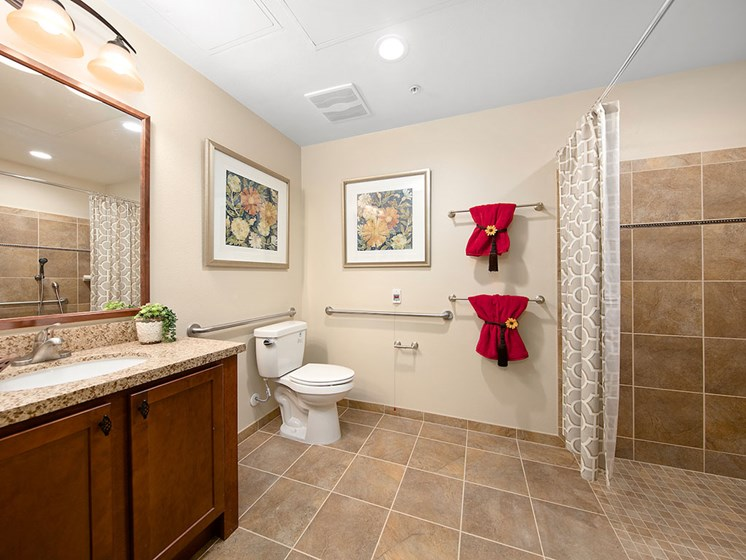 Accessible Bathroom at Pacifica Senior Living Oceanside, Oceanside, 92057