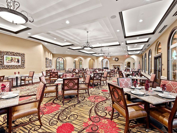 Spacious dining room at Pacifica Senior Living Oceanside in Oceanside, California