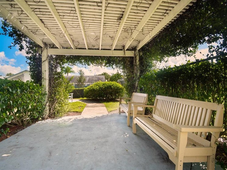 Sunshine Patio at our senior living facility in Greenacres, Florida