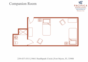 Companion Room Floor Plan at Pacifica Senior Living Palm Beach, Florida, 33467
