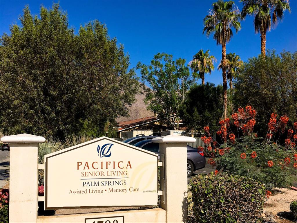 Welcome sign at Pacifica Senior Living Palm Springs in Palm Springs, Riverside County, California