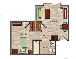 Spacious One Bedroom Floor Plan at Pacifica Senior Living Palm Springs, Palm Springs, CA