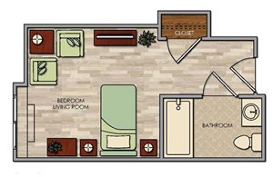 Comfortable Studio Floor Plan at Pacifica Senior Living Palm Springs, Palm Springs, California