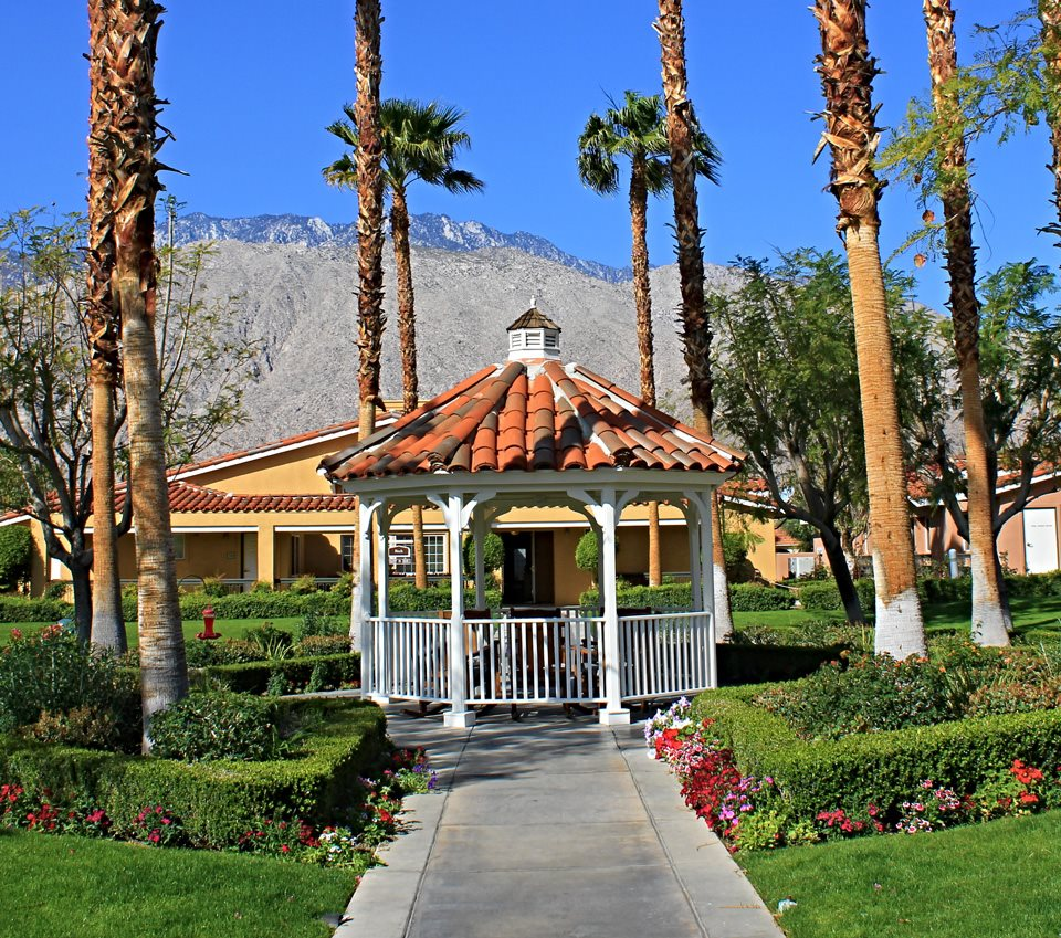 Resort Style Community  with Gazebo Garden at Pacifica Senior Living Palm Springs, Palm Springs, CA, 92262