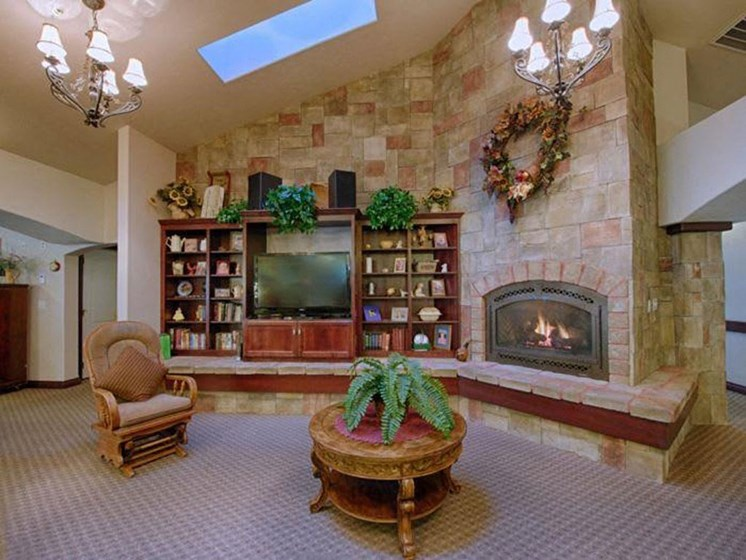 Quaint Fireplace In Lounge Area at Pacifica Senior Living Pinehurst, Pinehurst