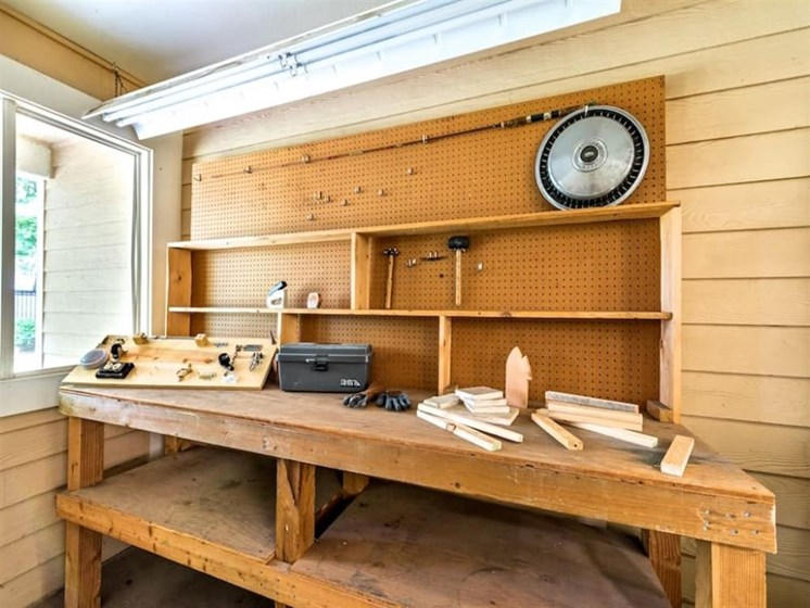 Resident Woodshop at Pacifica Senior Living Portland, Portland, OR