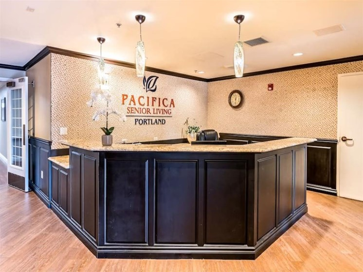 Well Decorated Reception area at Pacifica Senior Living Portland, Portland, Oregon