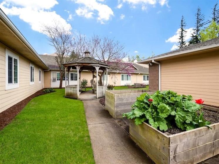 Sun Porch Gazebo In Courtyard at Pacifica Senior Living Portland, Oregon, 97233