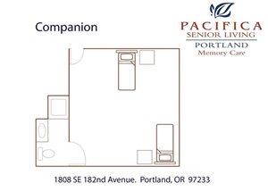 Companion Room Floor Plan at Pacifica Senior Living Portland, Oregon, 97233