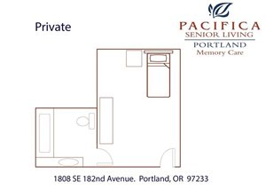 Private Room Floor Plan at Pacifica Senior Living Portland, Portland, OR, 97233