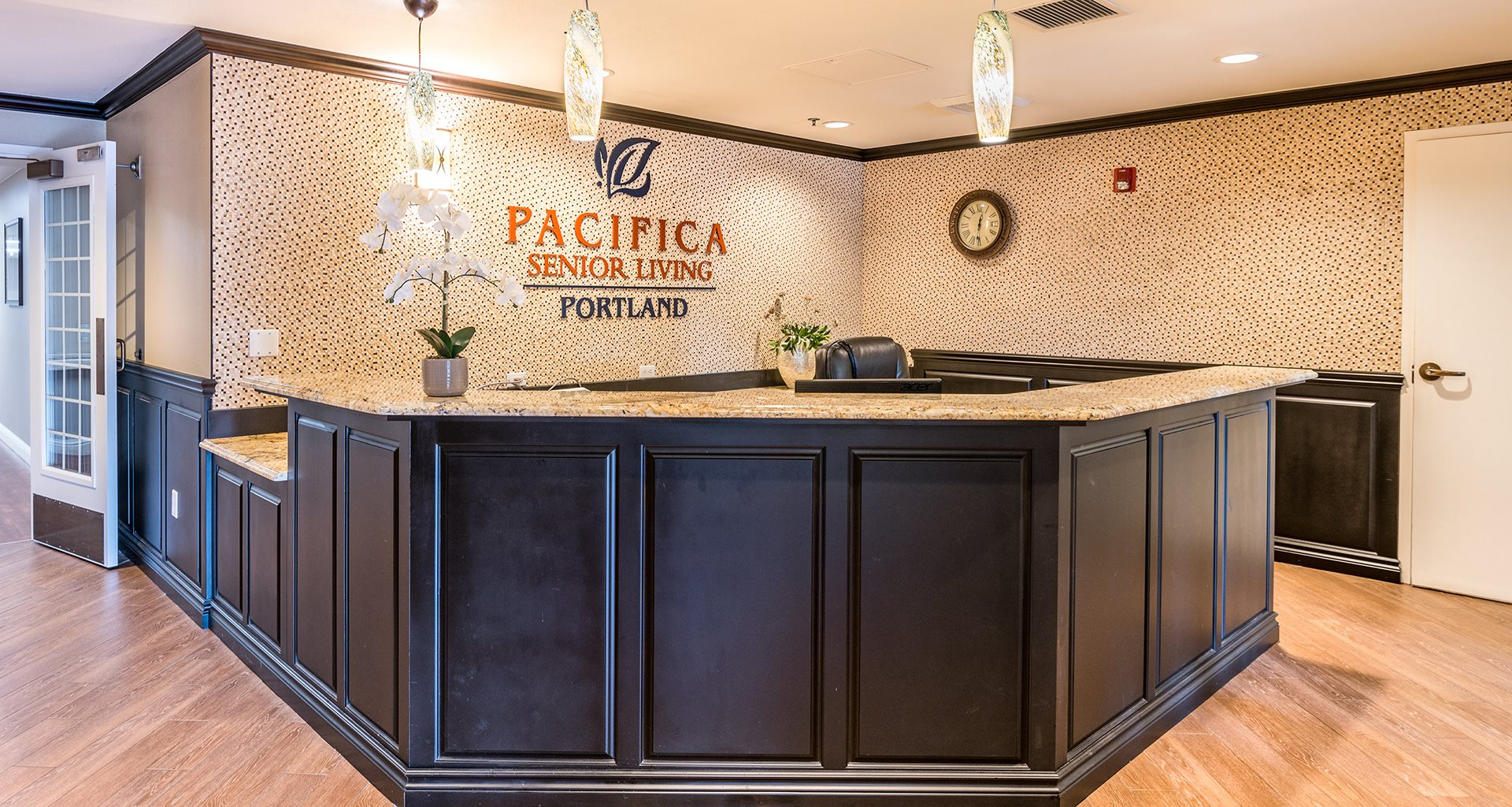 Welcoming Reception Area at Pacifica Senior Living Portland, Portland