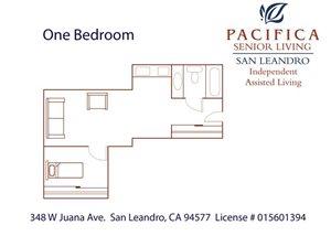 One Bedroom Floor Plan at Pacifica Senior Living San Leandro, San Leandro, California