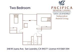 Two Bedroom Floor Plan at Pacifica Senior Living San Leandro, San Leandro