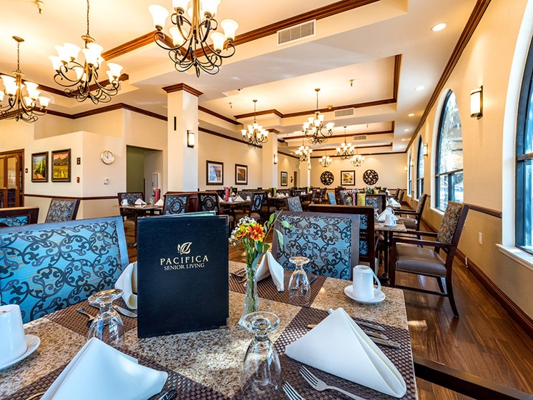 Graceful Dining Area,at Pacifica Senior Living San Leandro, San Leandro, CA
