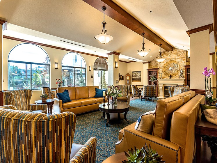 Ample sitting in clubhouse,at Pacifica Senior Living San Leandro, California