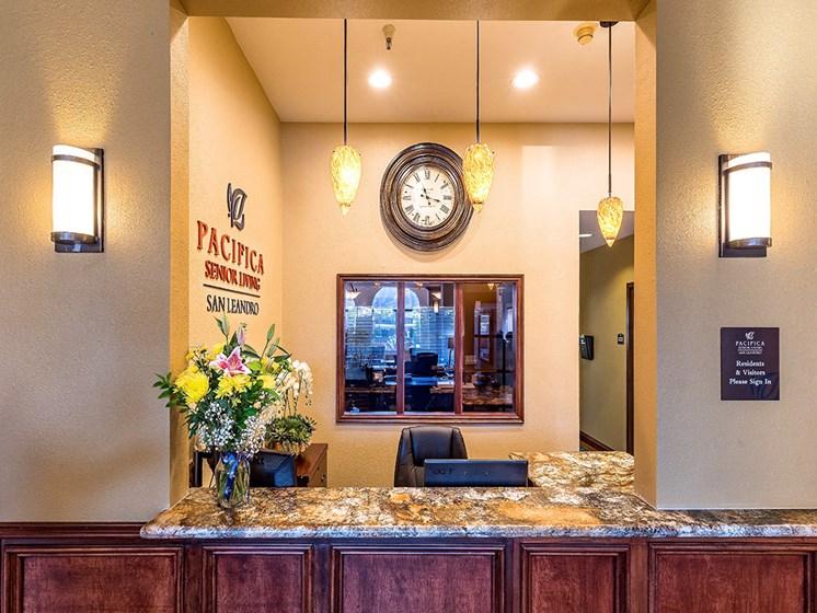 Lobby Area at award-winning Pacifica Senior Living San Leandro, San Leandro, 94577