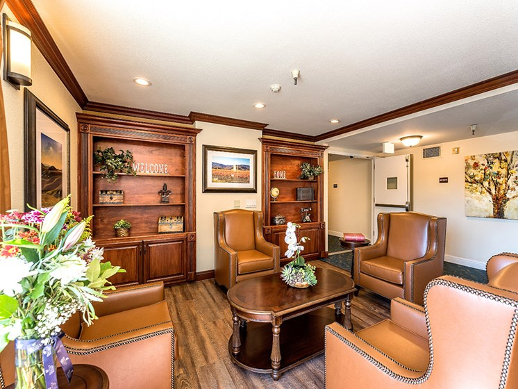 Decorated Reception And Lobby Area,at Pacifica Senior Living San Leandro, San Leandro California