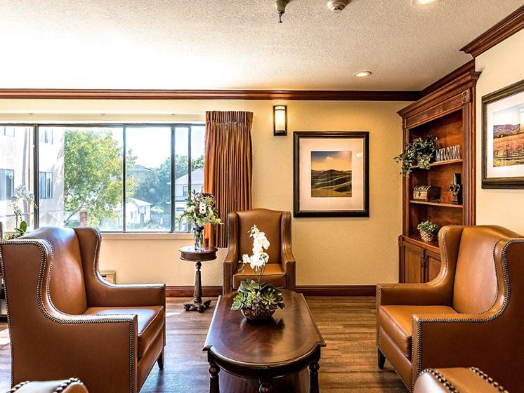 Contemporary Lobby Area,at Pacifica Senior Living San Leandro, San Leandro