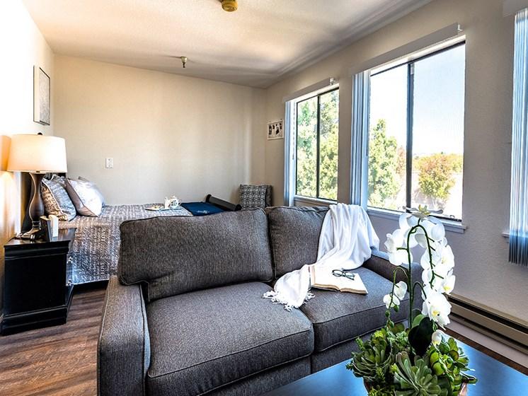 Comfortable Bedroom,at Pacifica Senior Living San Leandro, California