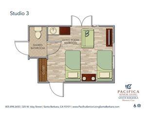 Sandpiper -- Shared Studio w. Shared Bath Floor Plan at Pacifica Senior Living Santa Barbara, Santa Barbara, 93101