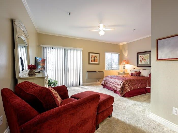 Cozy decorated bedroom at Pacifica Senior Living Santa Clarita in Newhall, CA