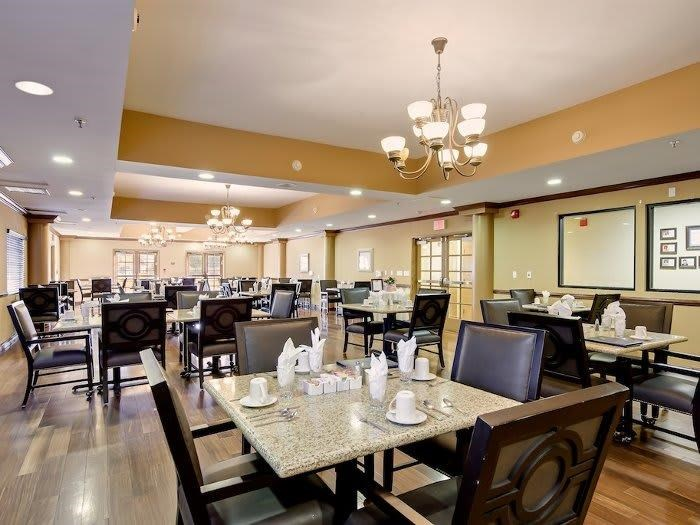 Make friends and meet family in our community dining hall at Pacifica Senior Living Santa Clarita