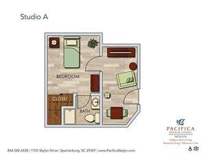 Studio A Floor Plan at Pacifica Senior Living Skylyn, Spartanburg, 29307