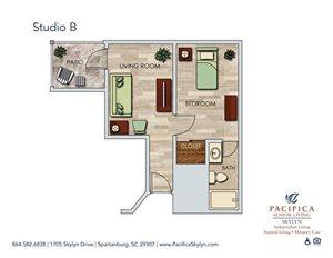 Studio B Floor Plan at Pacifica Senior Living Skylyn, Spartanburg, South Carolina
