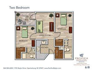Two Bedroom Floor Plan at Pacifica Senior Living Skylyn, South Carolina