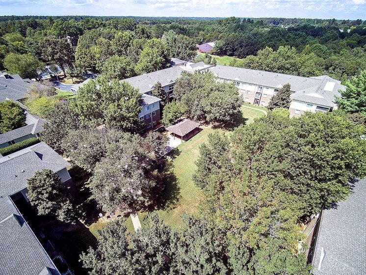 Aerial View Of The Courtyard at Pacifica Senior Living Skylyn, Spartanburg, SC, 29307