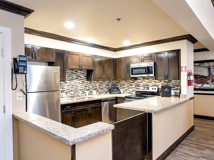 Modern kitchen at Pacifica Senior Living Snohomish in Snohomish, Washington