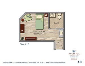 Studio B Floor Plan at Pacifica Senior Living Snohomish, Snohomish, WA