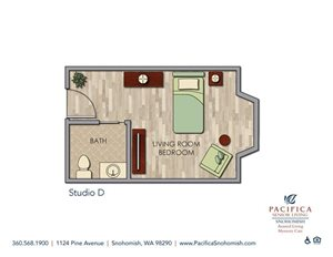 Studio D Floor Plan at Pacifica Senior Living Snohomish, Snohomish, Washington