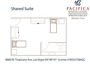 Shared Suite Floor Plan at Pacifica Senior Living Spring Valley, Las Vegas, 89147