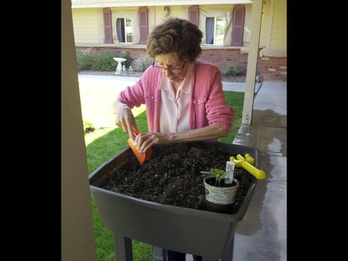 Resident Gardening at Pacifica Senior Living Tucson showing green thumb