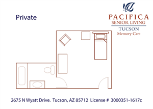 Private Floor Plan at Pacifica Senior Living Tucson, Arizona, 85712