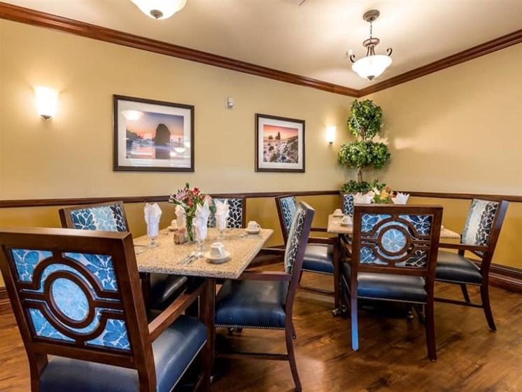 Beautiful dining room decor at Pacifica Senior Living Union City in Union City, California