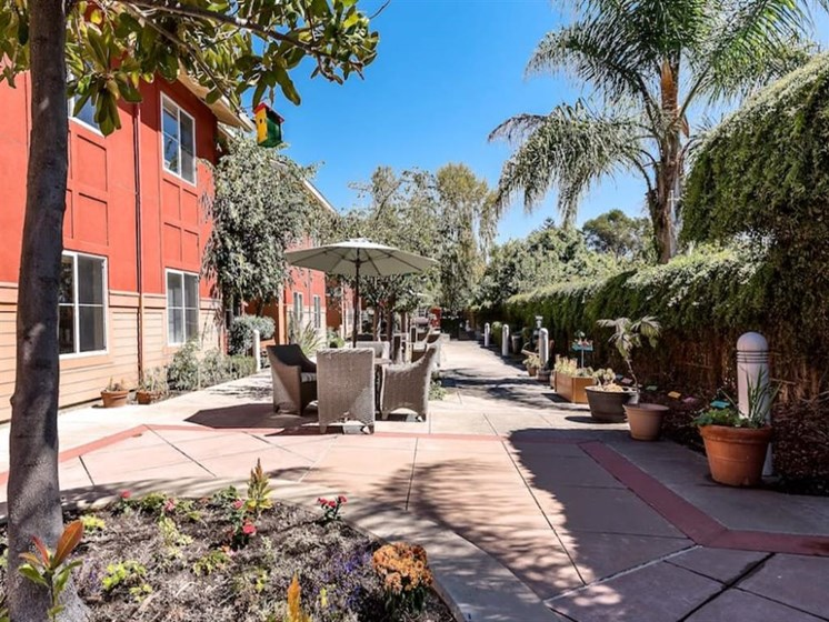 Sunny and Shady Outdoor Courtyard at Pacifica Senior Living Union City in Union City, California