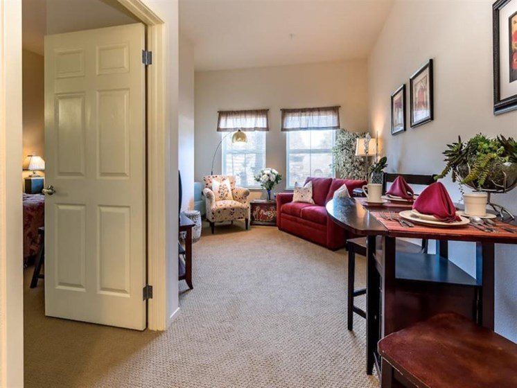 Beautiful living and dining room at Pacifica Senior Living Union City in Union City, California